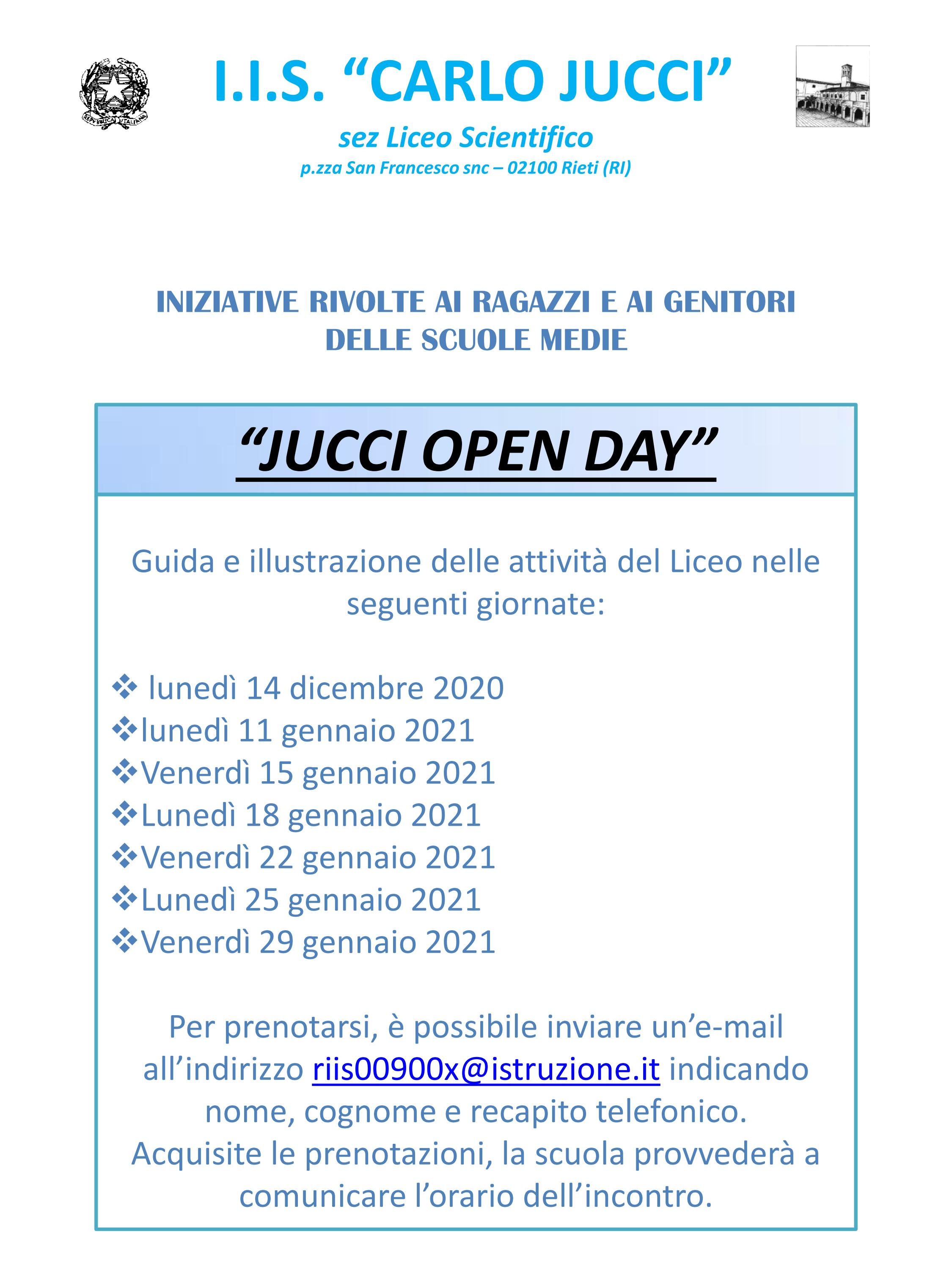 OPEN DAY JUCCI 2020 2021